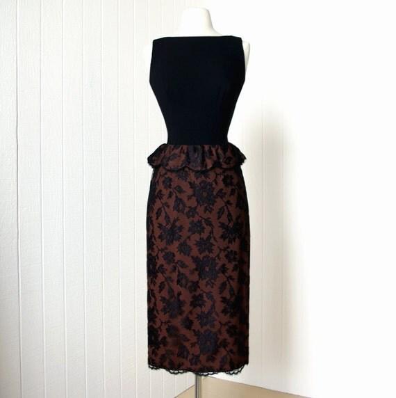vintage 1950's dress ...exquisite couture designer LUIS ESTEVEZ chantilly lace crepe scalloped peplum plunging back cocktail party dress