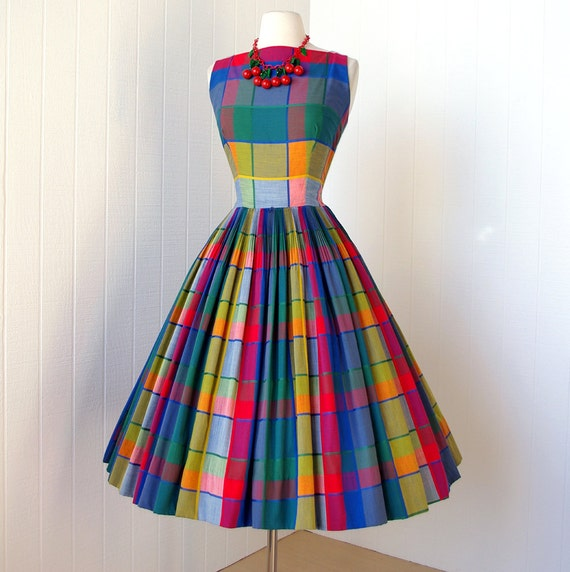 vintage 1950's dress ...best ever PARADE NEW YORK primary madras plaid full skirt plunging back pin-up party dress w/crinoline ...never worn