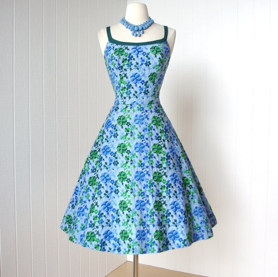 vintage 1950's dress ...gorgeous CAROLYN SCHNURER blue cotton embroidered floral convertible halter full skirt pin-up party dress