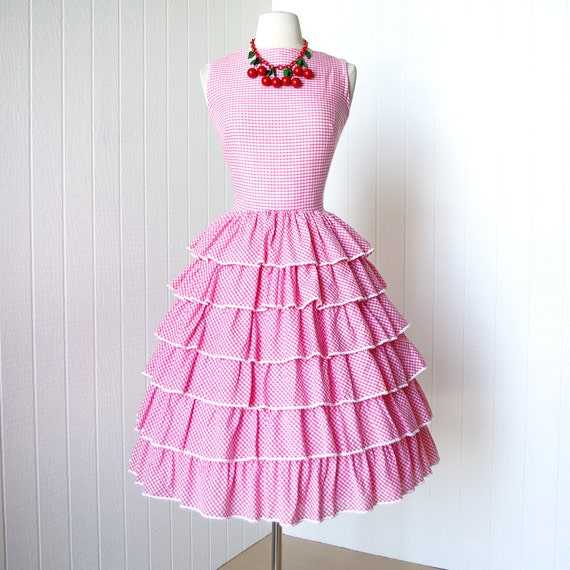 on HOLD vintage 1950's dress ... pretty in PINK GINGHAM ruffles crocheted trim full skirt pin-up party dress