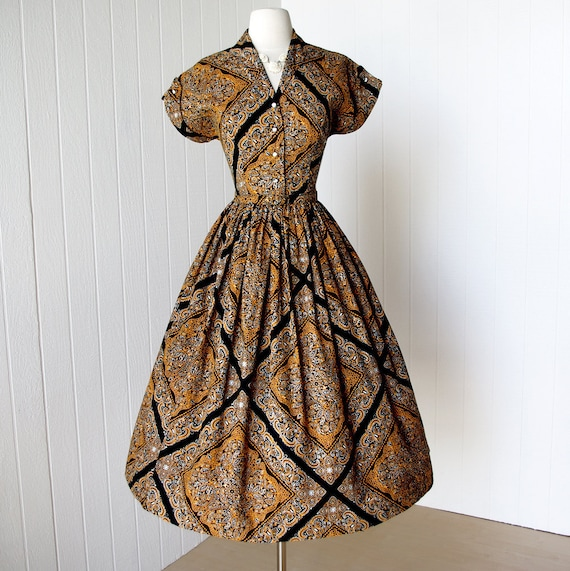 vintage 1950's dress ...unworn BRENTWOOD cotton scarf print bandana print full skirt pin-up dress