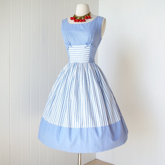vintage 1950's dress ...fantastic SUSAN jr MIAMI blue chambray cabana striped full skirt pin-up summer sun dress with bows and buttons