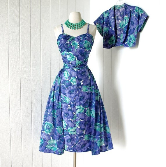 vintage 1950's dress ...most amazing COLE OF CALIFORNIA polished cotton hawaiian pin-up wiggle dress with gauze overskirt and bolero jacket