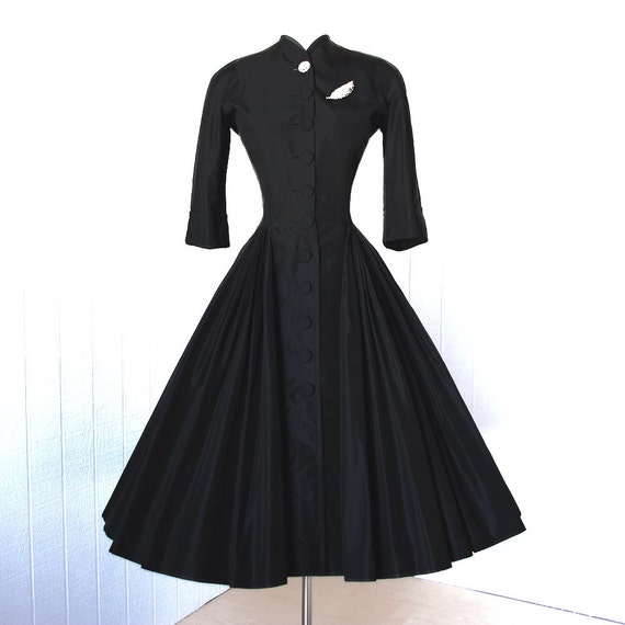 vintage 1940's dress ...rare exquisite designer couture NETTIE ROSENSTEIN black silk full skirt pleated swag shirtwaist cocktail dress
