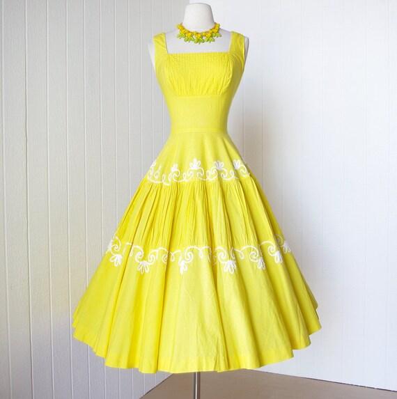 vintage 1950's dress ...sunshine yellow MATTHEW RICHARD MIAMI cotton pintucked shelf-bust full skirt pin-up party summer dress