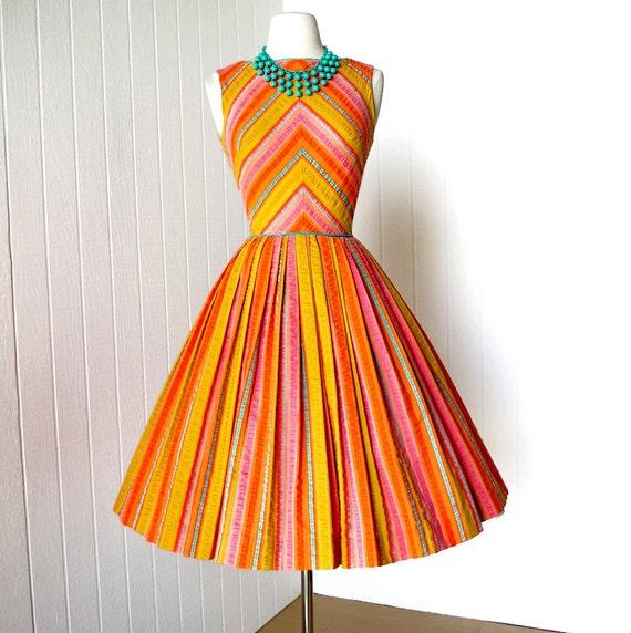 vintage 1960's dress ...tutti fruitti GAY GIBSON chevron sorbet cotton seersucker full skirt pin-up summer dress