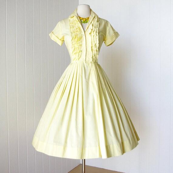 vintage 1950's dress ...sunny girl JONATHAN LOGAN yellow cotton tuxedo ruffles full skirt shirtwaist dress