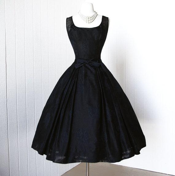 vintage 1950's dress ...gorgeous designer EVELYN BYRNES polly's new york 3 layer full skirt black pin-up cocktail dress with bow belt