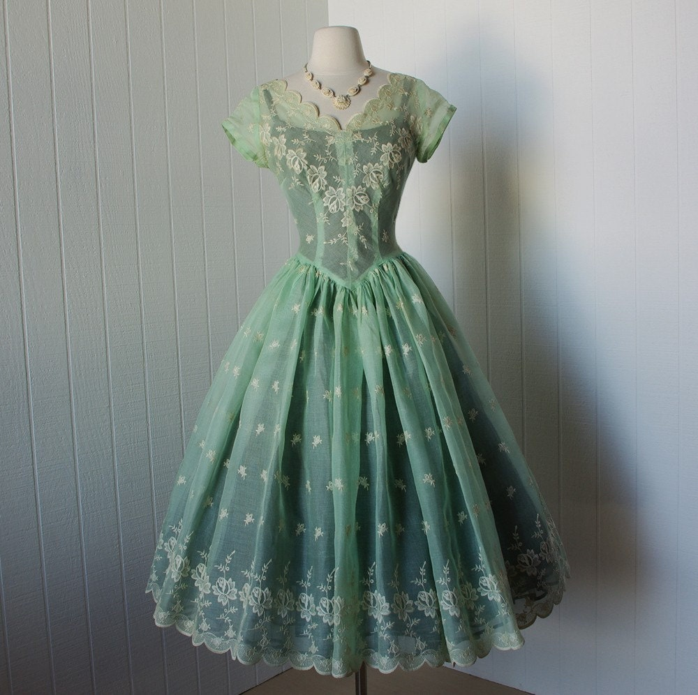 Vintage 1950s Dress Exquisite Sheer Green By Traven7 On