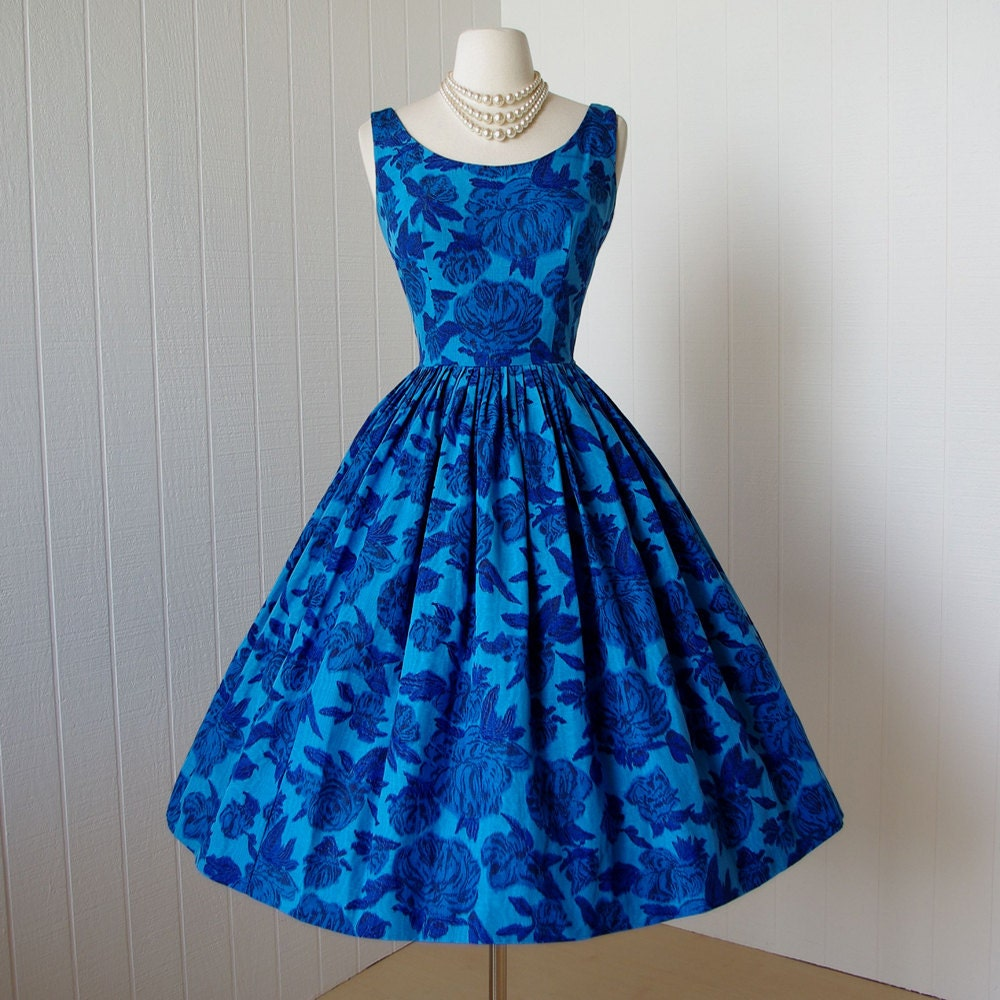 Vintage Dresses Blue Wedding: Vintage 1950's Dress ...gorgeous Big Blue CABBAGE ROSE