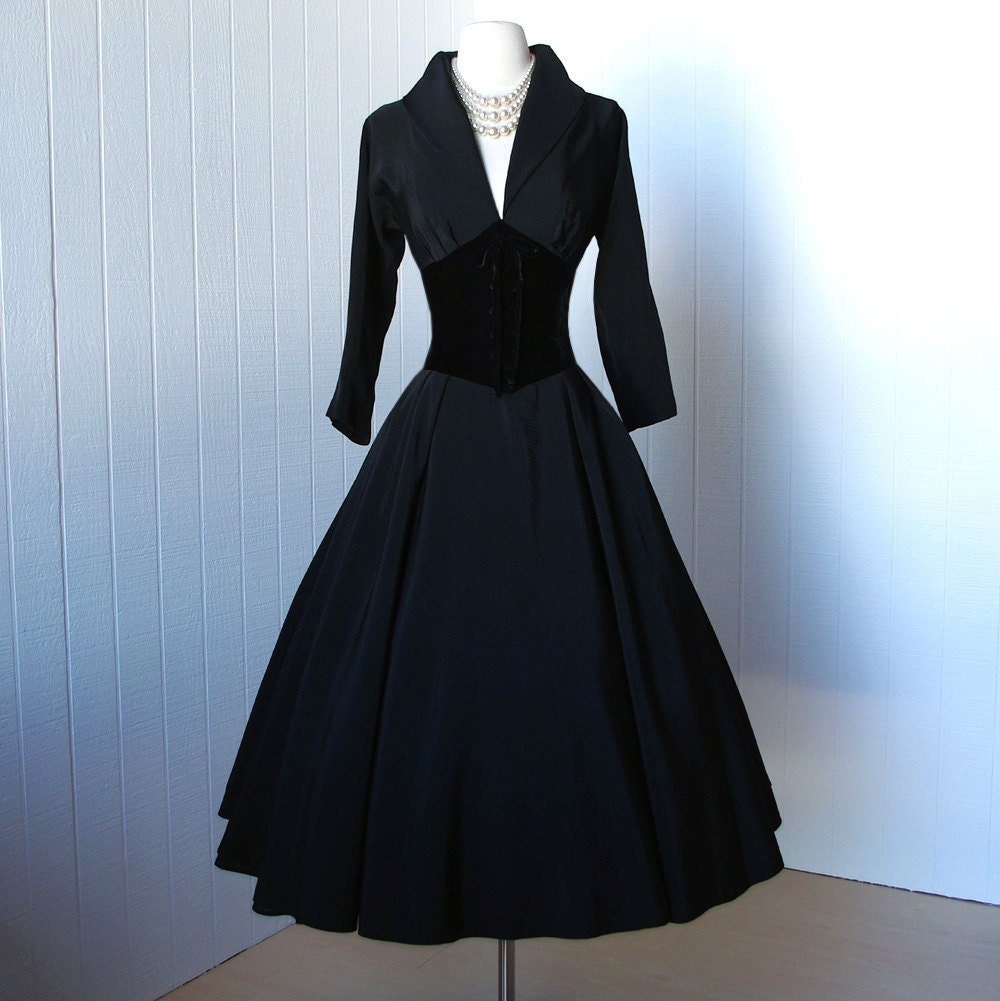 vintage 1950's dress ...dior inspired new look designer
