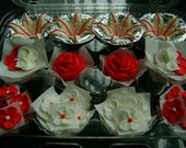 Candy Striper Collection -  Assorted Red and White Royal Icing Sugar Flowers