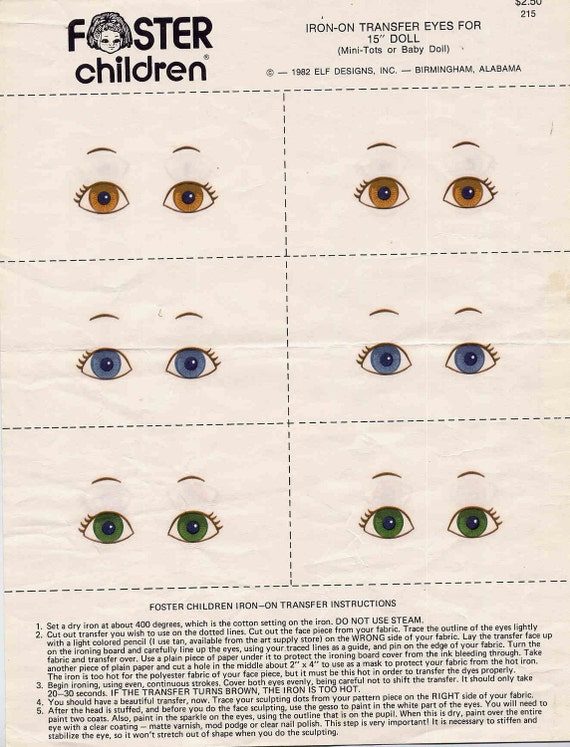 Vintage Foster Children Iron On Doll Eyes for 15 Inch Cloth Dolls--6 Pairs Plus Extras