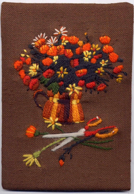 """Vintage 1970's Brown and Orange Cut Flowers in a Pitcher Finished Crewel Embroidery Picture--5"""" by 6"""""""