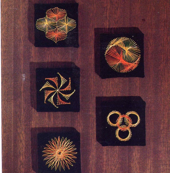 Vintage 1970s Graphic Design String Art Craft Book With Full