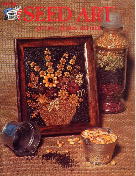 Vintage 1970s Seed Art Craft Book--Pictures, Plaques and a Table--Roosters, Owls, Sunflowers, Giraffe