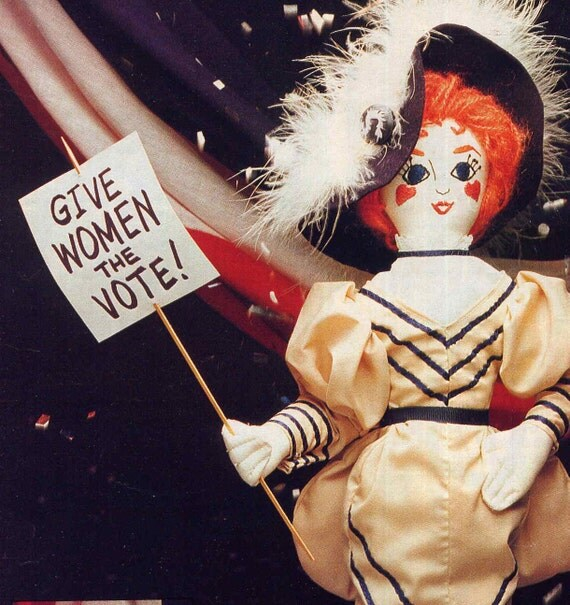 Vintage Gibson Girl Suffragette Cloth Costume Doll Sewing Pattern--Historical Decorative Doll