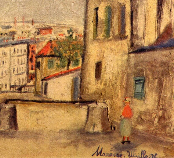 Small Vintage Maurice Utrillo Paris Street Scene Textured Litho on Cardboard Fine Art Print 6 x 8 Retro Decor