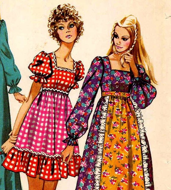 1970s Vintage Storybook Empire Mini Maxi Dress w Square Neck, Attached Apron Sewing Pattern Simplicity 9486--Bust 32.5