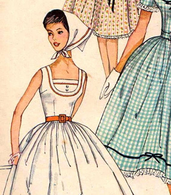 Vintage 1960s Simplicity 3918 Full Skirt Picnic or Party Dress with Kerchief Scarf Sewing Pattern--Bust Junior 31.5