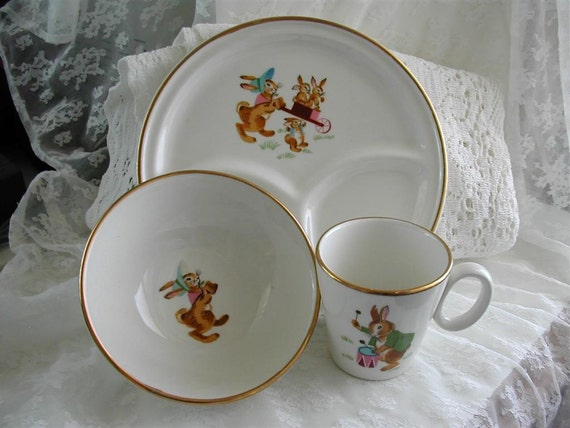 Vintage 3 Piece Baby China SetHeavy Gold Trimmed Cup Plate
