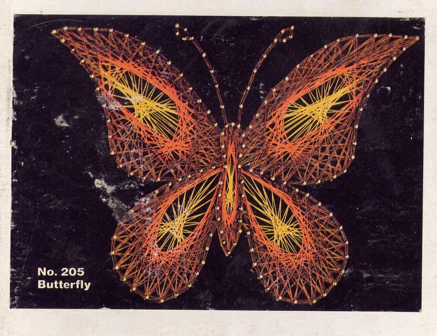 Vintage 1977 Butterfly String Art Kit5 X 7 On Black Velvet