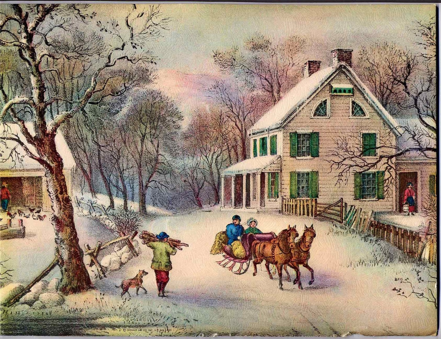 Vintage winter snow scene textured litho print on cardboard8 for Outdoor christmas scenes