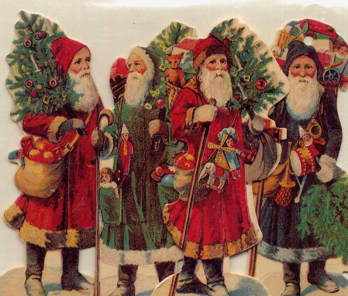 Victorian Father Christmas Decorations: Vintage Victorian Father Christmas Reproduction Die Cut
