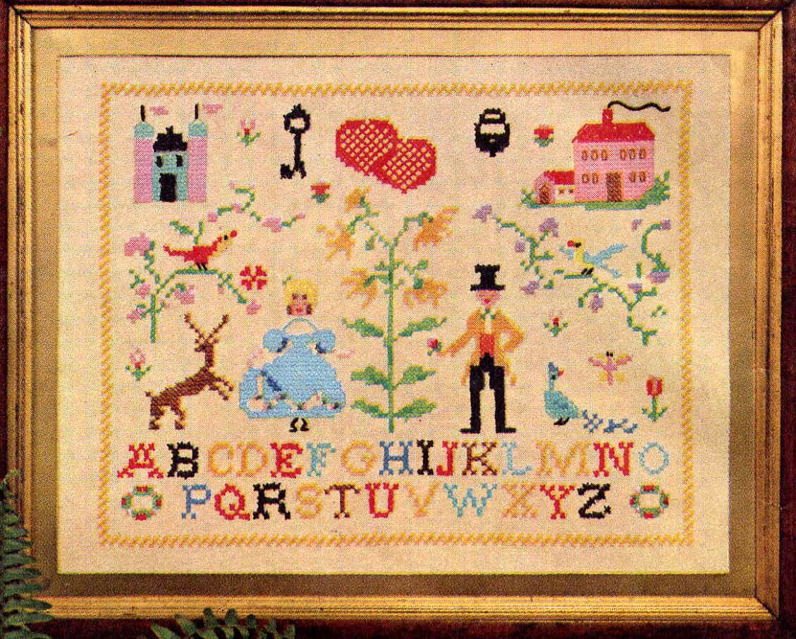 Vintage embroidery sampler transfer pattern simplicity