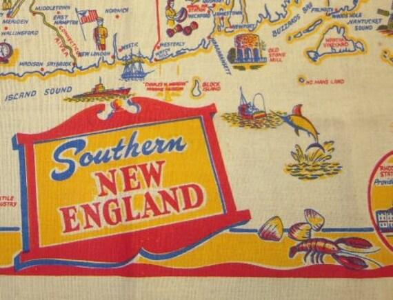 Vintage SOUVENIR Tablecloth Post War Southern New England Mint