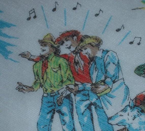 Vintage SOUVENIR Hanky Wall Drug South Dakota Singing Cowboys & Dinosaurs