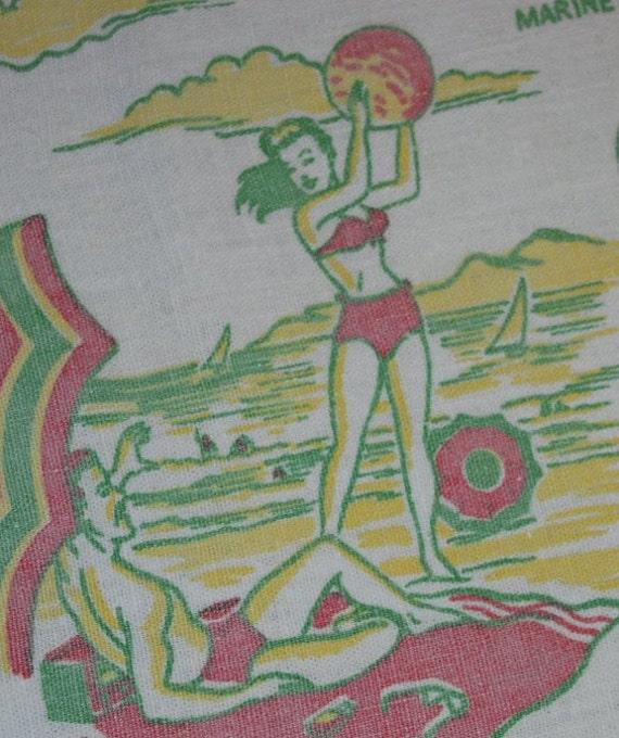 Vintage Souvenir Tablecloth Michigan Auto Industry Great Lakes