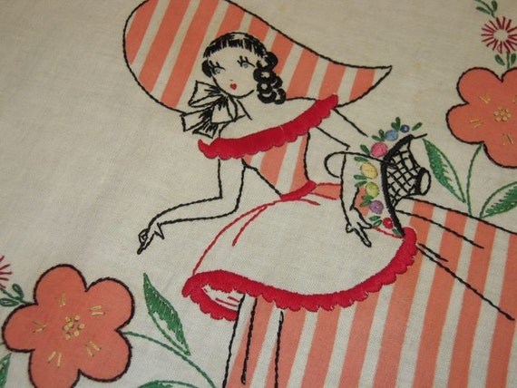 Vintage EMBROIDERED Applique Tablecloth Vogart Southern Belles Stunning
