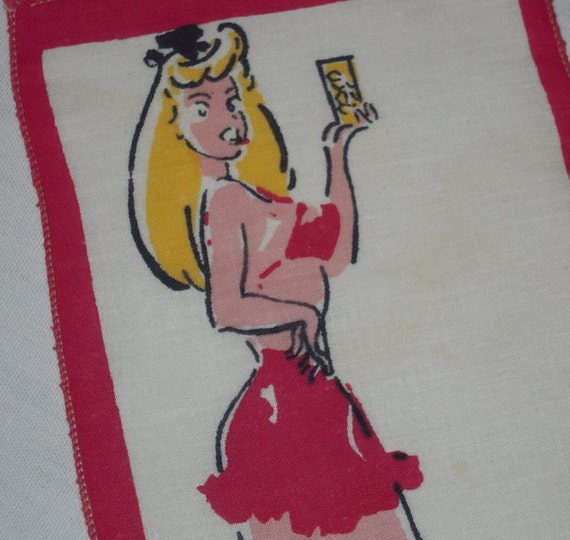 Vintage Textile Pin Up Peggy Has Your Highball