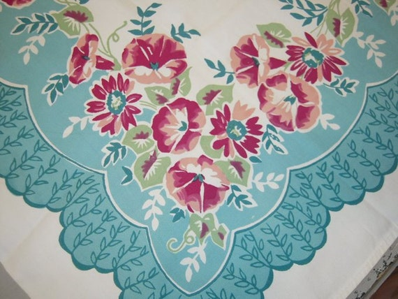 Vintage Tablecloth Amp Napkins Pink And Aqua Blue Morning