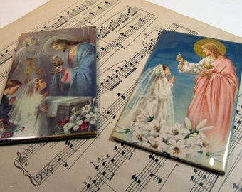 Two First Communion religious pictures vintage 1960's