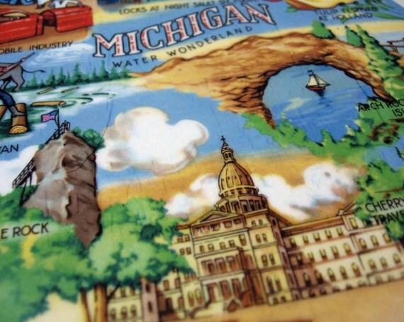 Michigan souvenir Plate