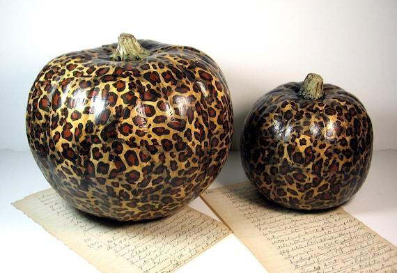 Leopard Animal Print Pumpkin for Thanksgiving Decoupage Medium