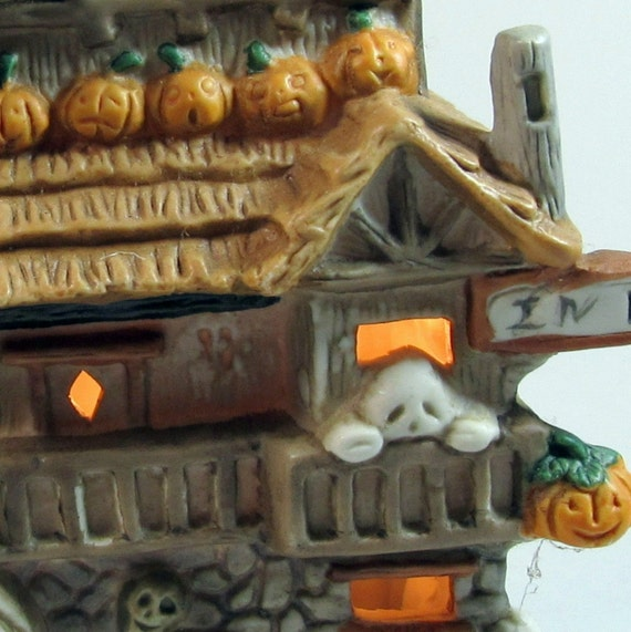 Ceramic Halloween House lighted Keep Out