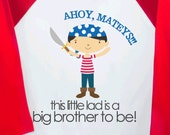 Big Brother pirate shirt big brother to Be raglan T-shirt- perfect pregnancy announcement