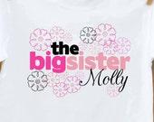 Big sister personalized flower Tshirt