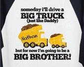 Big Brother Dump Truck long sleeve raglan tee- what an adorable pregnancy announcement