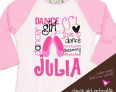 childrens personalized shirt-dance girl ballet adorably personalized t-shirt for your little dancer or ballerina