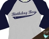 Birthday Boy shirt - perfect for the baseball, sports themed birthday party  baseball raglan shirt