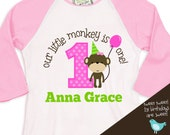 first 1st birthday girl shirt monkey theme party tshirt little monkey  RAGLAN