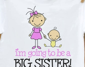 Big sister shirt-adorable big sister to be STICK FIGURE announcement t-shirt