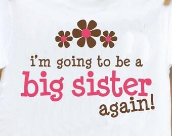 Big sister shirt- pink/brown flower big sister again t-shirt