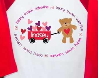 Beary Sweet Valentine raglan Tshirt- adorable for your little valentine