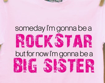 big sister rockstar shirt for the big sister to be pink or white t shirt