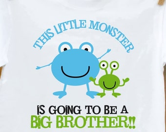 Big brother shirt-This Little Monster Big Brother announcement T-shirt
